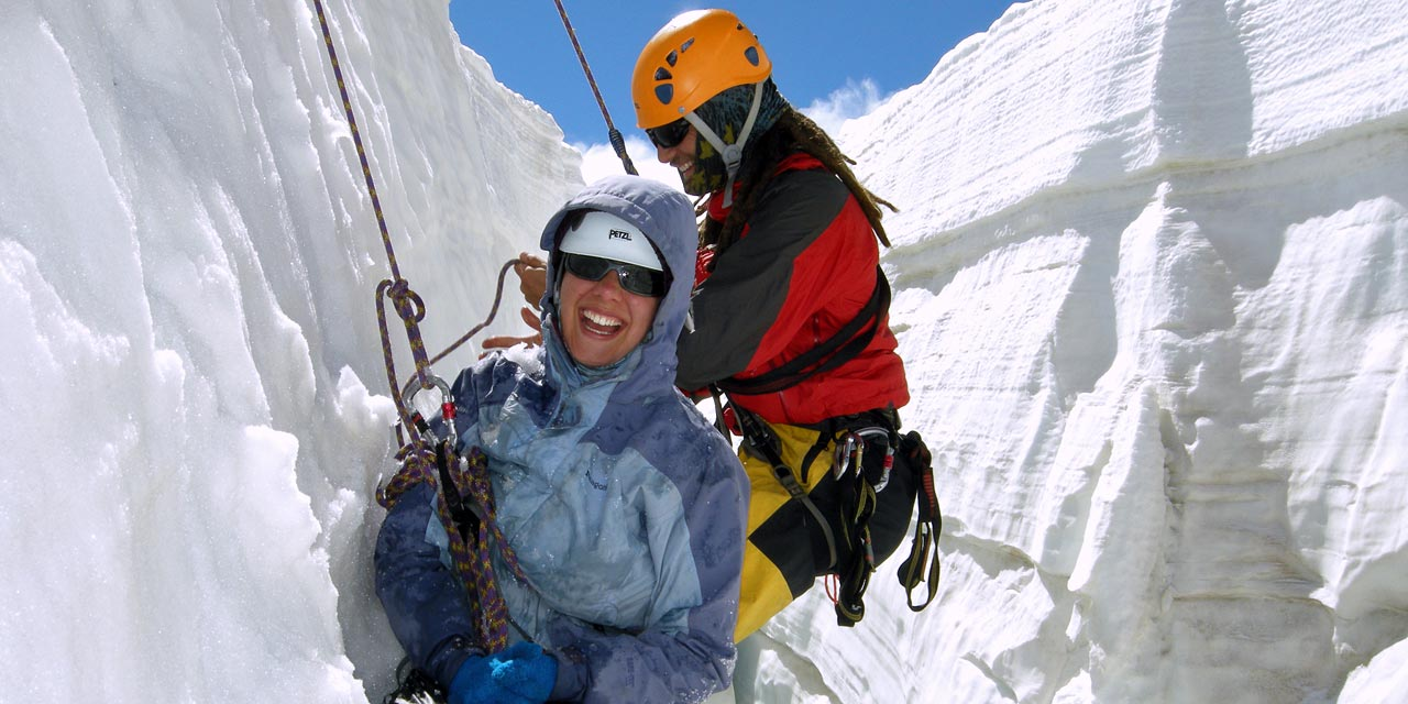 Practicing crevasse rescue
