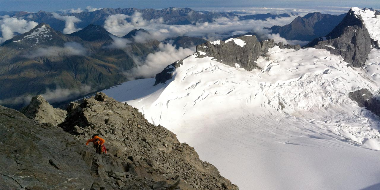 Climbers on the NW Ridge of Mt. Aspiring