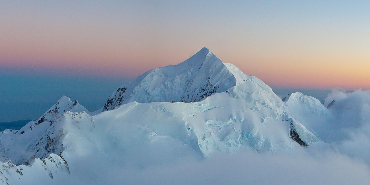 Morning light on Mt. Tasman, as seen from the summit rocks of Mt. Cook