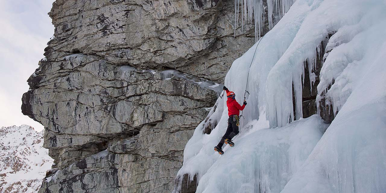 Waterfall ice climbing instruction at Ailsa Stream