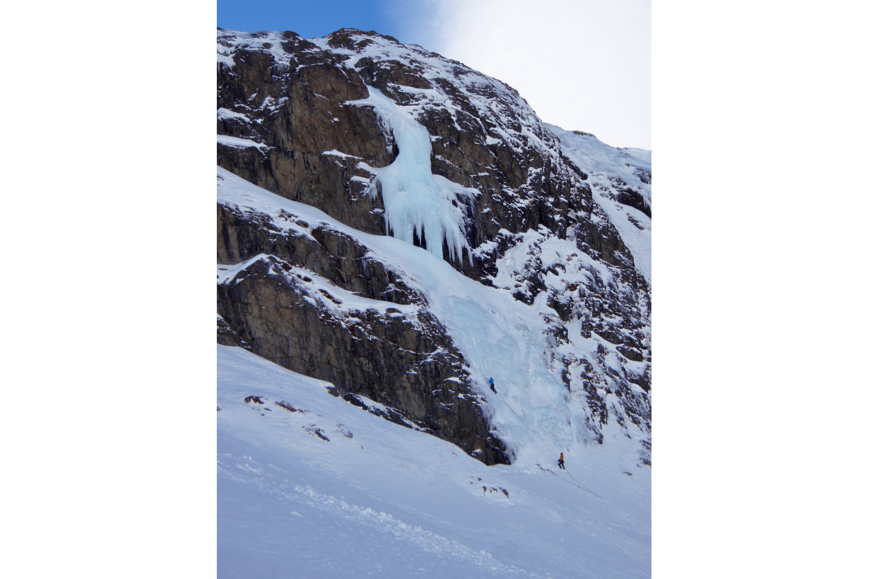 Ailsa Stream Ice Climbing - main wall