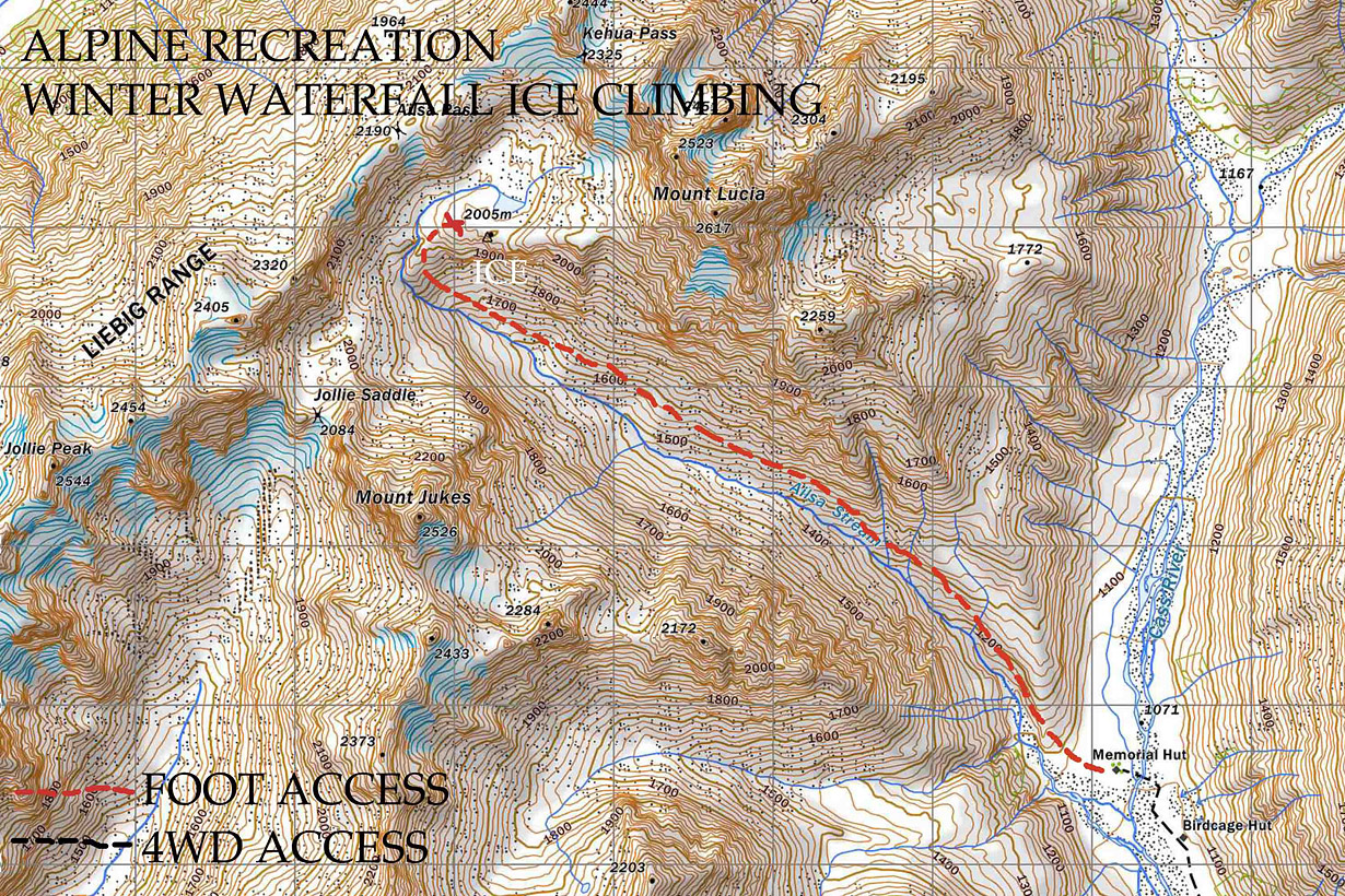 Ailsa Stream Ice Climbing - map