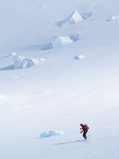 Skiing on the Tasman Glacier