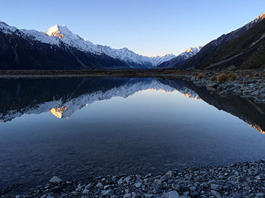 Sunset over Aoraki / Mt. Cook and the Tasman Valley