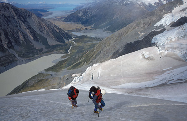 Climbers on the Stewart Glacier, high above the Hooker Valley.