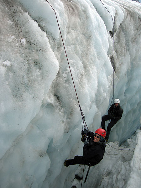 Learning crevasse rescue on the Ball Glacier.