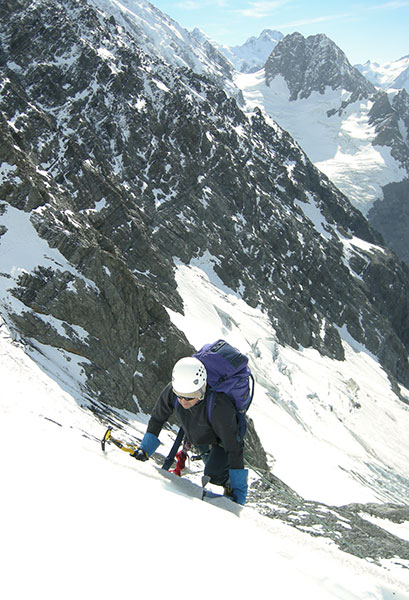 Lead climbing on snow & ice.