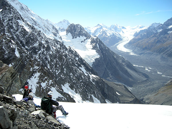 Enjoying the view over the Tasman Glacier and surrounding peaks from near the summit of Turner Peak.