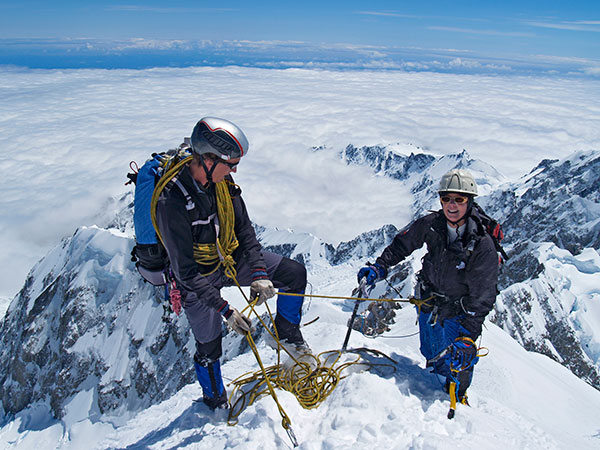 Climbers near the summit of Mt Cook.