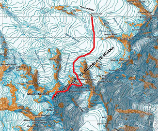 Map showing the summit day route from Pioneer Hut.