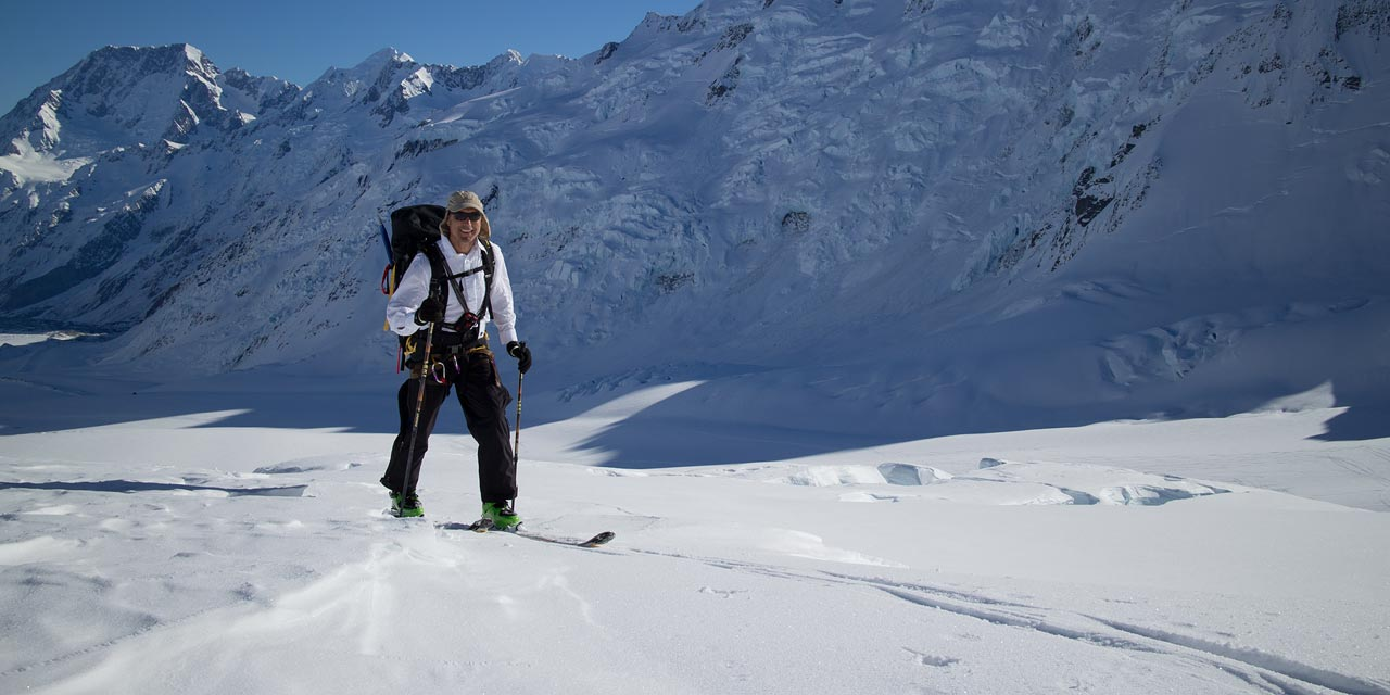 Ski touring on the Tasman Glacier