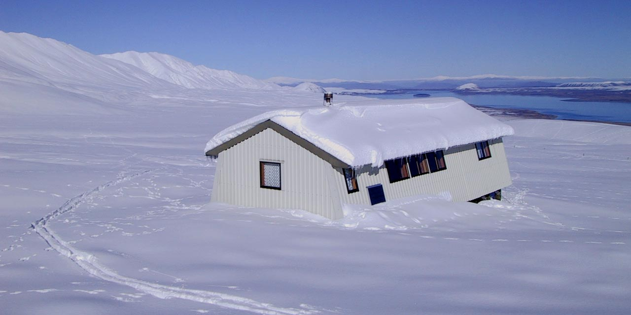 Rex Simpson Hut is a great base for snowshoe hikes in the Two Thumb Range