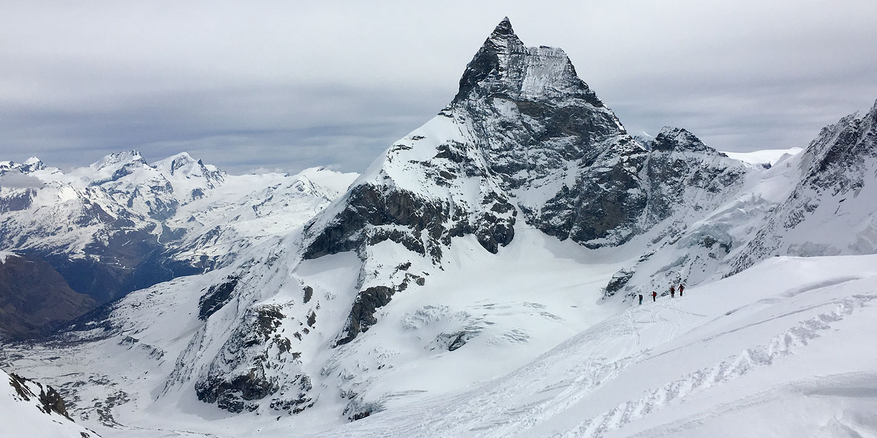 Ski tourers below the Matterhorn at the end of a successful Haute Route