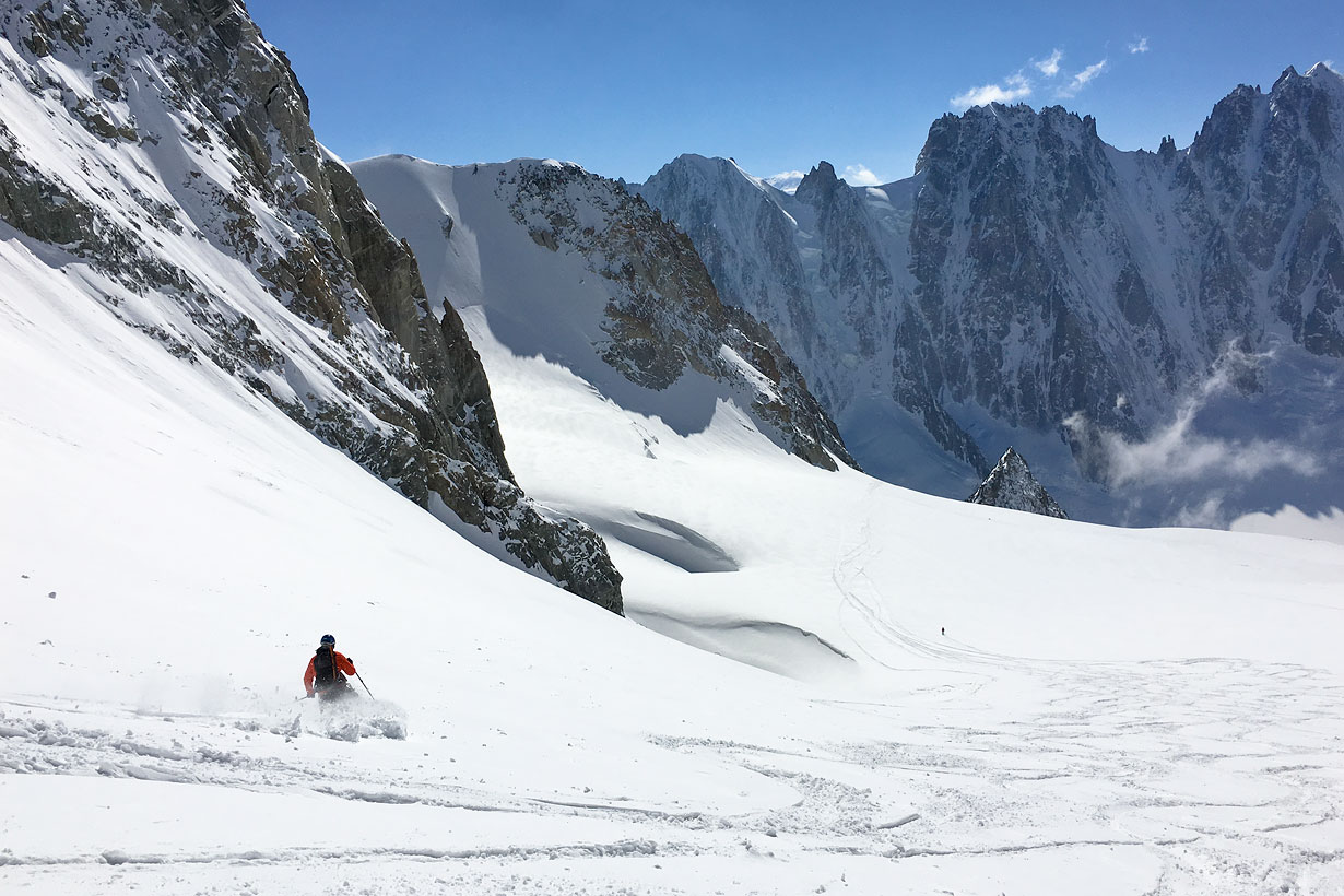Skiing in the Argentière Valley