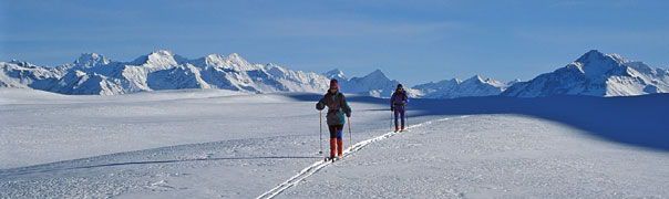 Skiing over Mt. Gerald with views across to the Southern Alps.