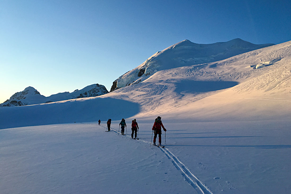 Skinning across the Tasman Glacier