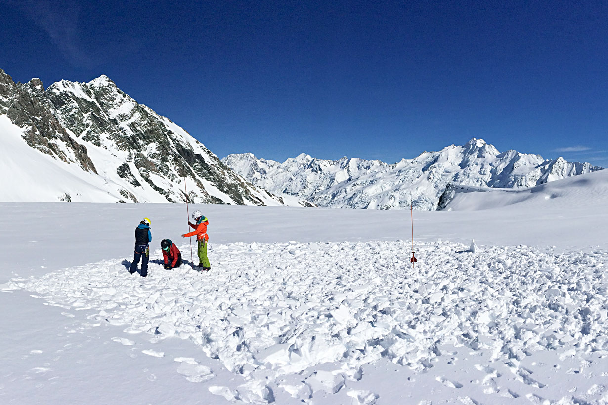 Avalanche rescue practice on the Tasman Glacier