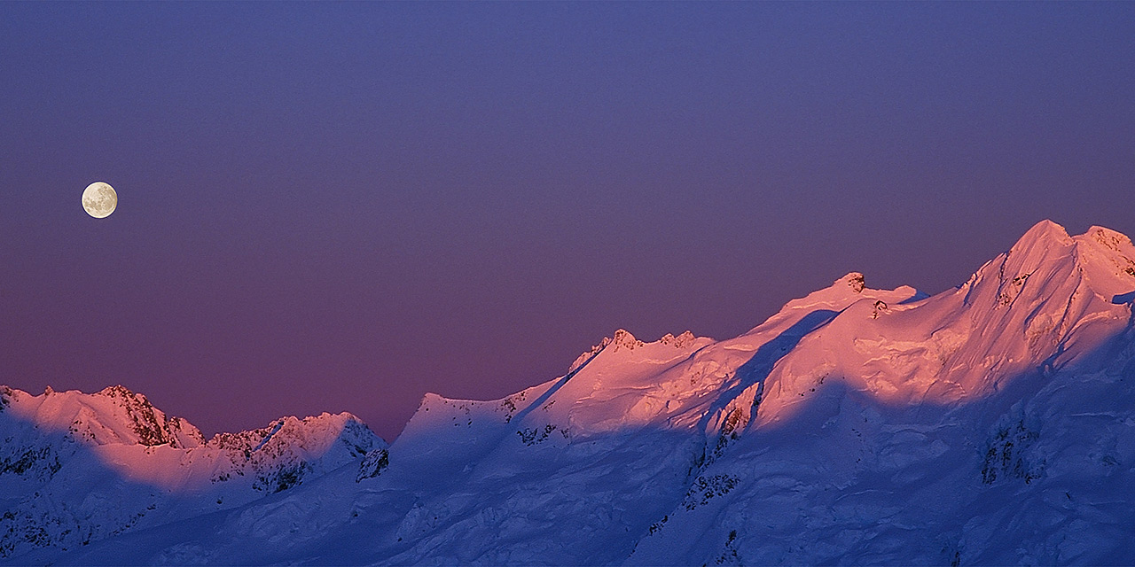 Symphony on Skis - moon rise over the Southern Alps