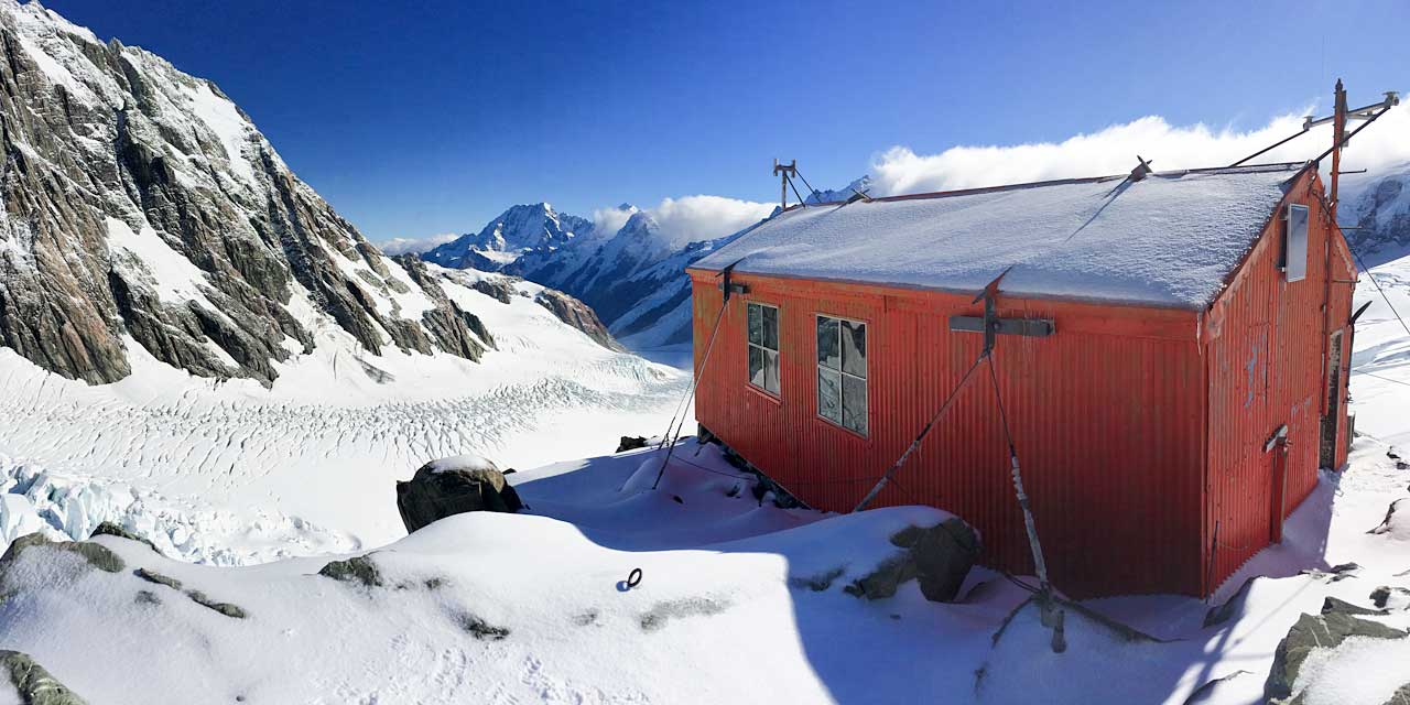 Tasman Saddle Hut and the Tasman Glacier