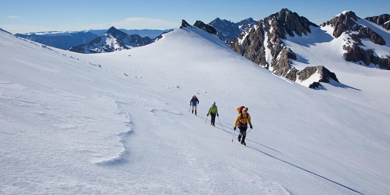 Group of trekkers on the upper Tasman Glacier