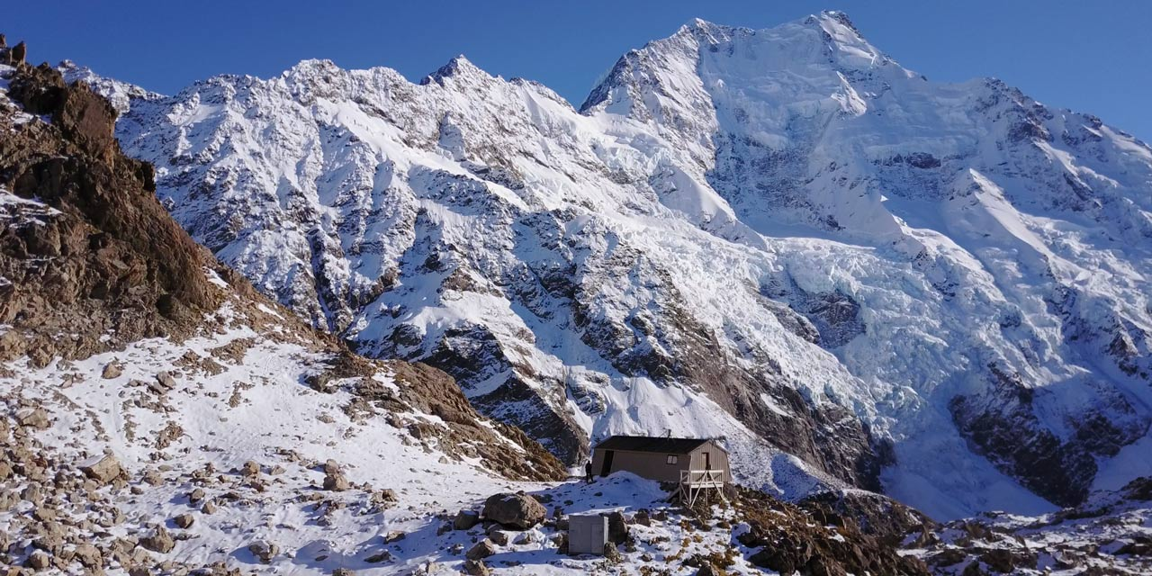Caroline Hut in fron of Caroline face