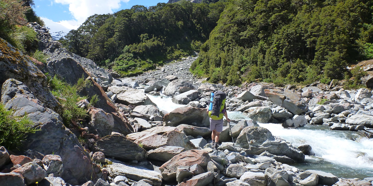 Boulder-hopping up the Huxley River North Branch