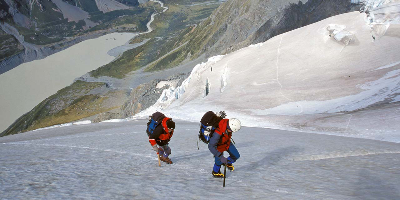 Trekkers ascending to Fitzgerald Pass