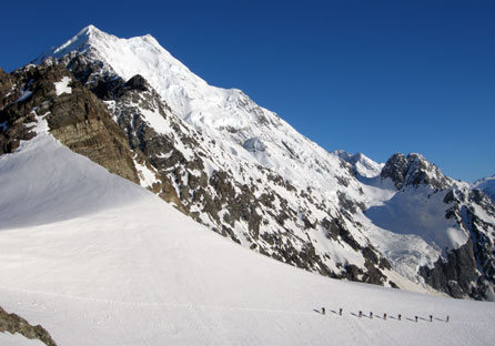 Spectacular views of the Caroline Face of Mount Cook from Ball Pass